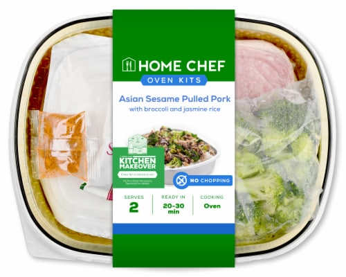 Home Chef Oven Kit Asian Sesame Pulled Pork With Broccoli And Jasmine Rice Perspective: front