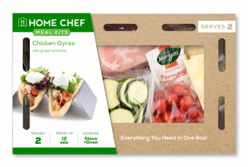 Home Chef Meal Kit Chicken Gyros With Grape Tomatoes Perspective: front