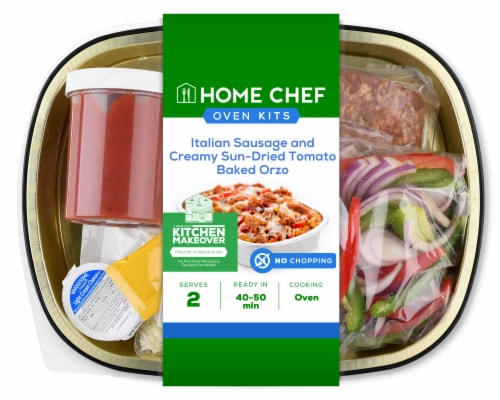Home Chef Oven Kit Italian Sausage And Creamy Sun-Dried Tomato Baked Orzo Perspective: front