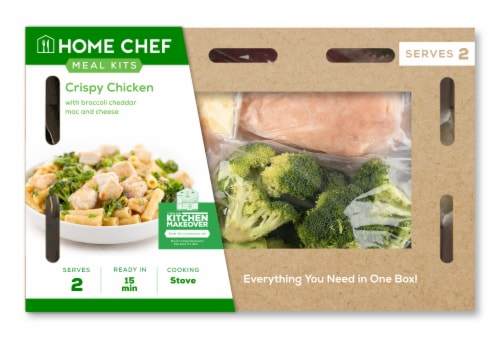 Home Chef Meal Kit Crispy Chicken With Broccoli Cheddar Mac And Cheese Perspective: front
