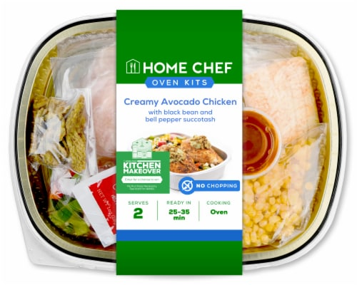 Home Chef Oven Kit Creamy Avocado Chicken With Black Bean And Bell Pepper Succotash Perspective: front