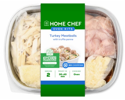Home Chef Oven Kit Turkey Meatballs With Truffle Penne Perspective: front