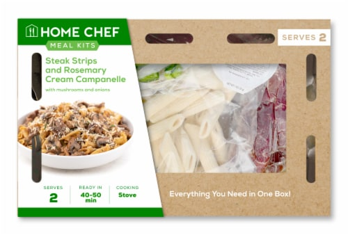 Home Chef Meal Kit Steak Strips And Rosemary Cream Campanelle With Mushrooms And Onions Perspective: front