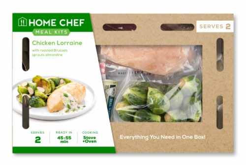 Home Chef Meal Kit Chicken Lorraine With Roasted Brussels Sprouts Almondine Perspective: front