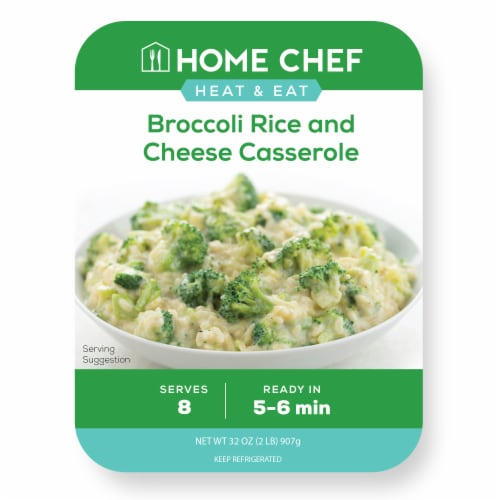 Home Chef Heat & Eat Broccoli Rice and Cheese Casserole Perspective: front