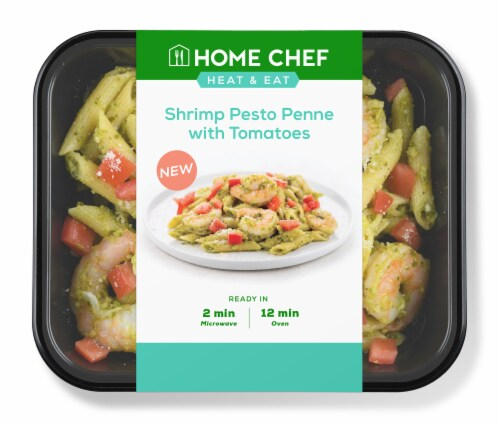 Home Chef Heat and Eat Shrimp Pesto Penne With Tomatoes Perspective: front