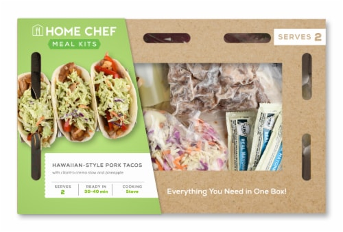Home Chef Meal Kit Hawaiian-Style Pork Tacos With Cilantro Crema Slaw And Pineapple Perspective: front
