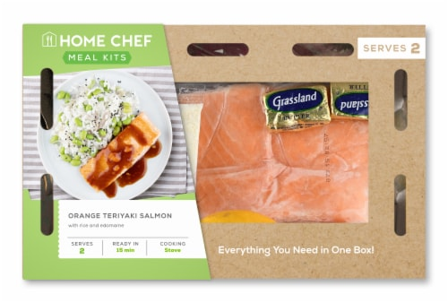 Home Chef Meal Kit Orange Teriyaki Salmon With Rice And Edamame Perspective: front