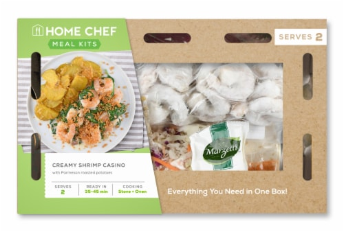 Home Chef Meal Kit Creamy Shrimp Casino With Parmesan Roasted Potatoes Perspective: front