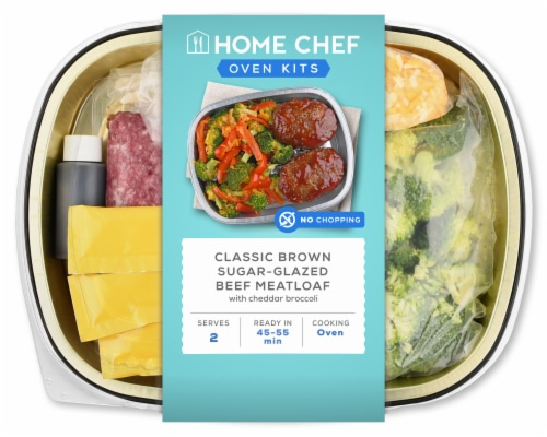 Home Chef Oven Kit Classic Brown Sugar-Glazed Beef Meatloaf With Cheddar Broccoli Perspective: front