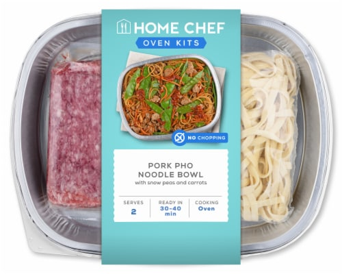 Home Chef Oven Kit Pork Pho Noodle Bowl With Snow Peas And Carrots Perspective: front