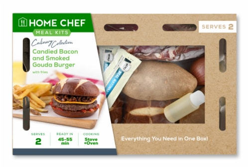Home Chef Culinary Collection Candied Bacon And Smoked Gouda Burger Perspective: front
