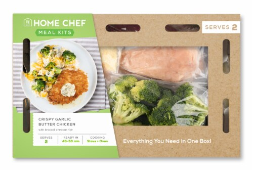 Home Chef Meal Kit Garlic Butter Crispy Chicken With Broccoli Cheddar Rice Perspective: front