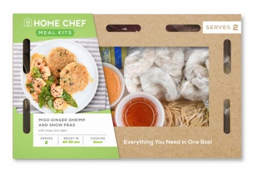 Home Chef Meal Kit Miso Ginger Shrimp And Snow Peas With Crispy Rice Cakes Perspective: front