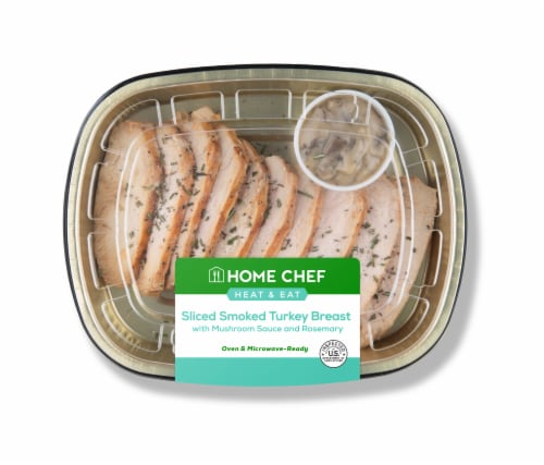 Home Chef Heat & Eat Sliced Smoked Turkey Breast with Mushroom Sauce and Rosemary Perspective: front