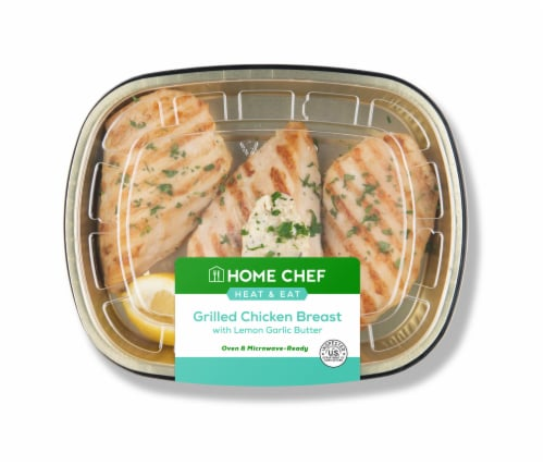 Home Chef Heat & Eat Grilled Chicken Breast with Lemon Garlic Butter Perspective: front