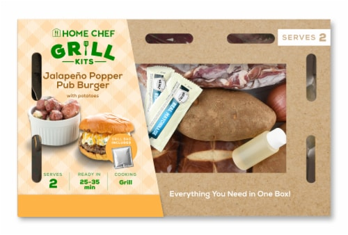 Home Chef Grill Kit Jalapeno Popper Pub Burger with Potatoes Perspective: front