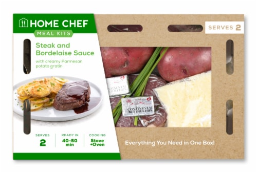 Home Chef Meal Kit Steak and Bordelaise Sauce Perspective: front