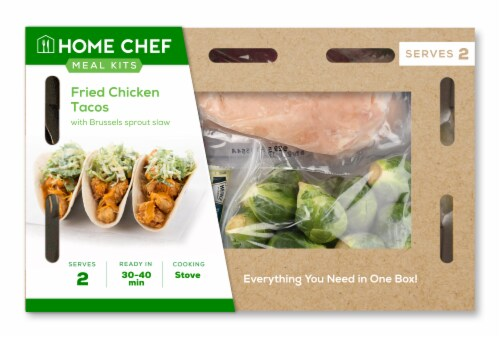 Home Chef Meal Kit Fried Chicken Tacos with Brussels Sprout Slaw Perspective: front