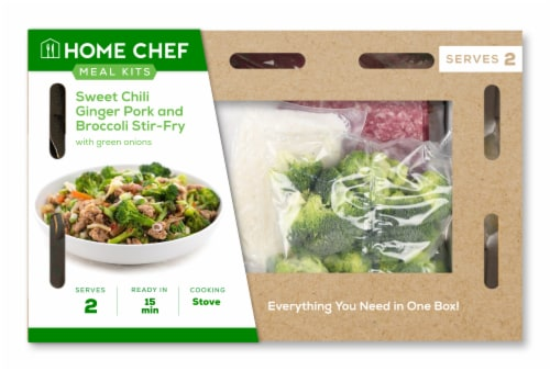 Home Chef Meal Kit Sweet Chili Ginger Pork and Broccoli Stir-Fry Stovetop Cooking Perspective: front