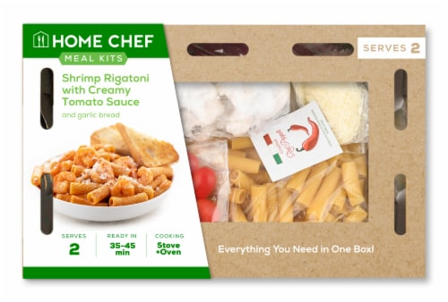 Home Chef Meal Kit Shrimp Rigatoni with Creamy Tomato Sauce Perspective: front