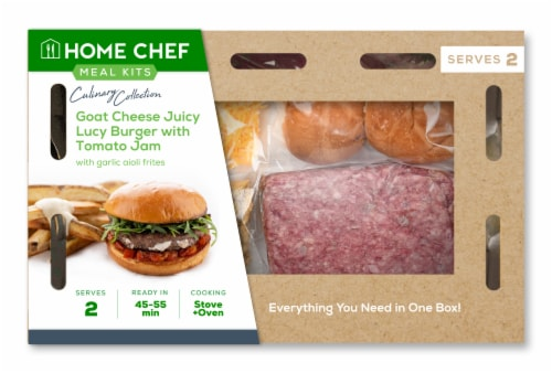 Home Chef Meal Kit Goat Cheese Juicy Lucy Burger with Tomato Jam Perspective: front