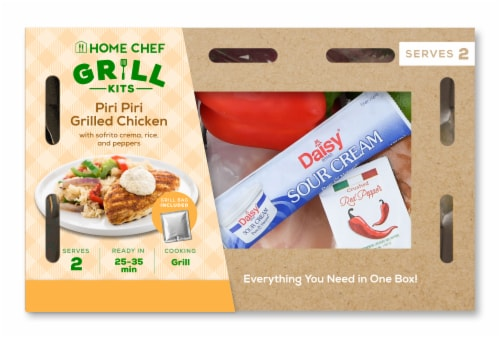 Home Chef Oven Kit Piri Piri Grilled Chicken with Sofrito Crema Rice and Peppers Perspective: front