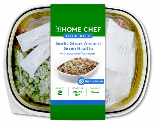 Home Chef Oven Kit Garlic Steak Ancient Grain Risotto with Peas and Parmesan Perspective: front