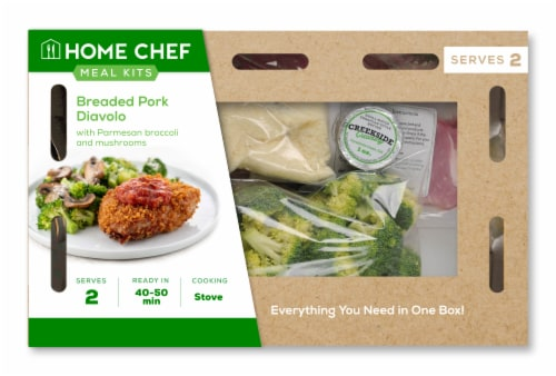 Home Chef Meal Kit Breaded Pork Diavolo with Parmesan Broccoli and Mushrooms Perspective: front