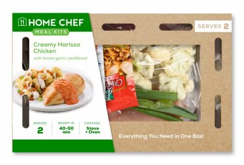 Home Chef Meal Kit Creamy Harissa Chicken with Lemon Garlic Cauliflower Perspective: front