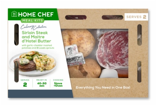Home Chef Meal Kit Culinary Collection Sirloin Steak and Maitre d'Hotel Butter Perspective: front