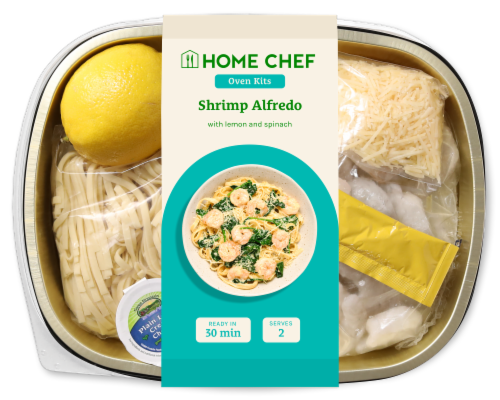 Home Chef Oven Kit Lemon Florentine Shrimp Alfredo with Spinach Perspective: front