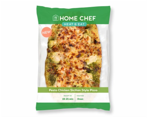 Home Chef Heat & Eat Pesto Chicken Sicilian Style Pizza Perspective: front