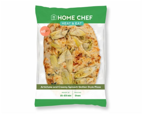 Home Chef Heat & Eat Artichoke and Creamy Spinach Sicilian Style Pizza Perspective: front