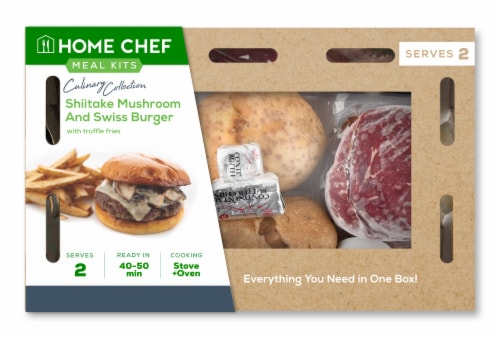Home Chef Meal Kit Culinary Collection Shiitake Mushroom and Swiss Burger with Truffle Fries Perspective: front
