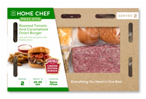 Home Chef Meal Kit Roasted Tomato and Caramelized Onion Burger Perspective: front