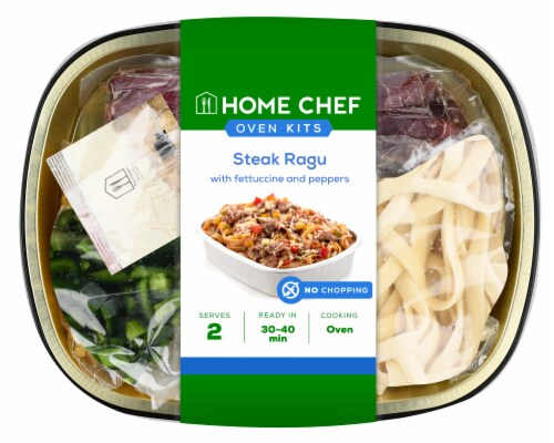 Home Chef Oven Kit Steak Ragu with Fettuccine and Peppers Perspective: front