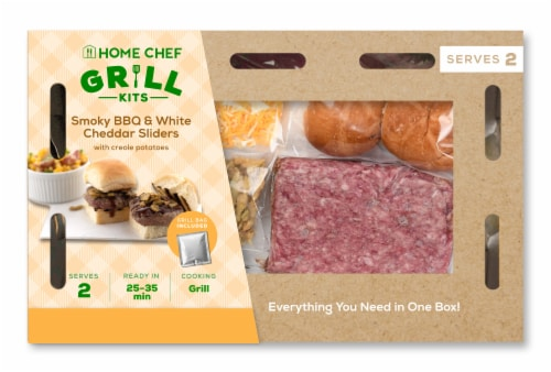 Home Chef Meal Kit Smoky BBQ Sliders with White Cheddar and Creole Potatoes Perspective: front