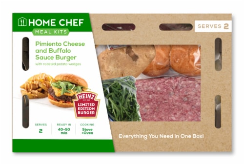 Home Chef Meal Kit Pimiento Cheese and Buffalo Sauce Burger Perspective: front