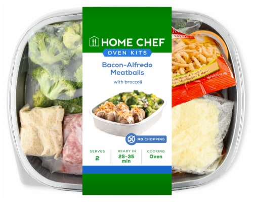Home Chef Oven Kit Bacon-Alfredo Meatballs with Broccoli Perspective: front
