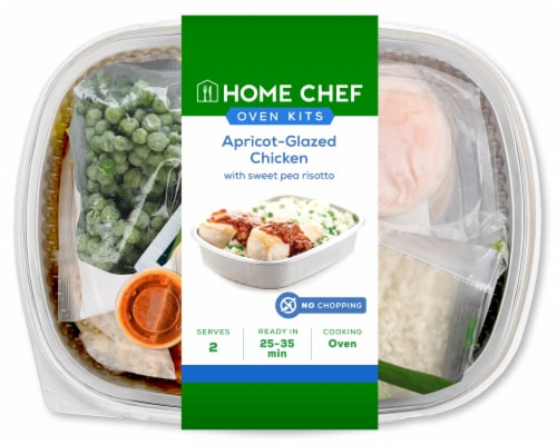 Home Chef Oven Kit Apricot-Glazed Chicken with Sweet Pea Risotto Perspective: front