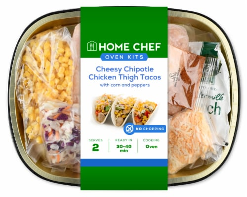 Home Chef Oven Kit Cheesy Chipotle Chicken Thigh Tacos Perspective: front