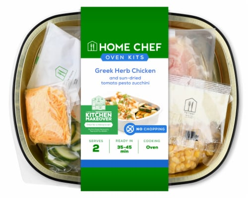 Home Chef Oven Kit Greek Herb Chicken And Sun-Dried Tomato Pesto Zucchini Perspective: front