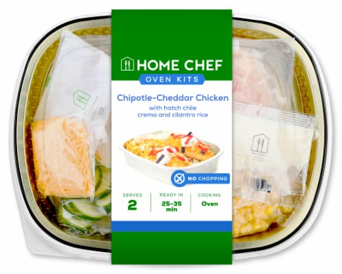 Home Chef Oven Kit Chipotle-Cheddar Chicken with Hatch Chile Crema and Cilantro Rice Perspective: front