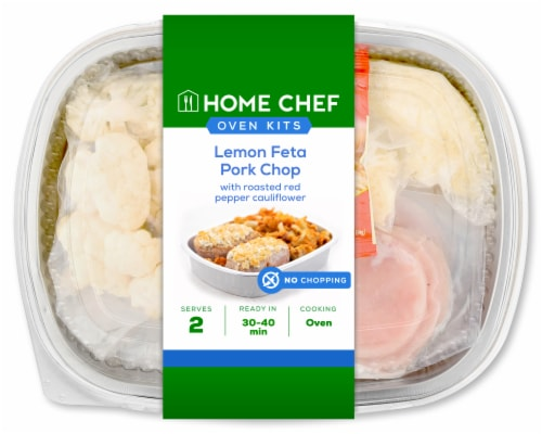 Home Chef Oven Kit Lemon Feta Pork Chops with Roasted Red Pepper Cauliflower Perspective: front