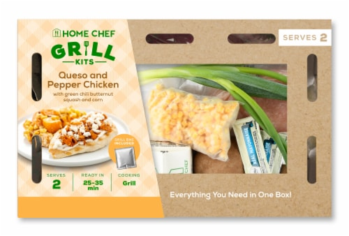 Home Chef Grill Kit Queso and Pepper Chicken with Green Chili Butternut Squash and Corn Perspective: front