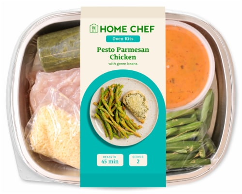 Home Chef Oven Kit Pesto Parmesan Chicken with Rosee Green Beans Perspective: front