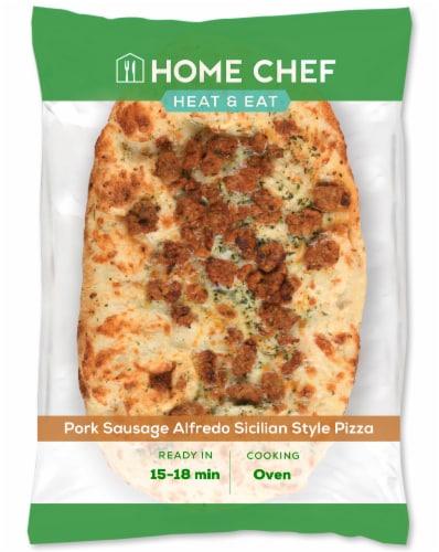 Home Chef Pizza Pork Sausage Alfredo Sicilian Style Pizza Perspective: front