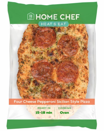 Home Chef Pizza Four Cheese Pepperoni Sicilian Style Pizza Perspective: front