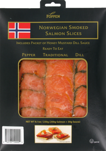 Foppen Norwegian Smoked Salmon Slices Perspective: front